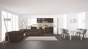 Minimalist white and brown living and kitchen, scandinavian clas Stock Image