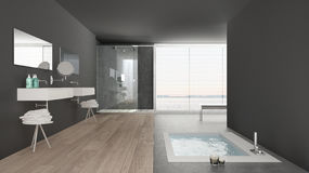 Minimalist white and gray bathroom with bath tub and panoramic. Window, classic interior design royalty free stock photos