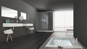 Minimalist white and gray bathroom with bath tub and panoramic. Window, classic interior design stock photo
