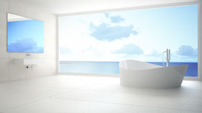Minimalist white and gray bathroom with big panoramic window, su. Mmer beach in the background Royalty Free Stock Images