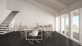Minimalist white and gray office, architect and planning departm Royalty Free Stock Image