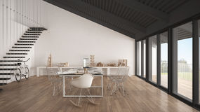 Minimalist white and gray office, architect and planning departm Royalty Free Stock Photo