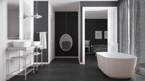 Minimalist white and gray scandinavian bathroom with bedroom  Royalty Free Stock Photography