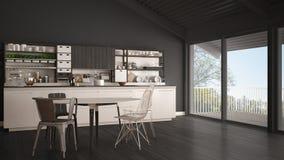 Minimalist white and gray wooden kitchen, big panoramic window, Stock Image