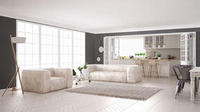 Minimalist white living and kitchen, scandinavian classic interi Stock Photo