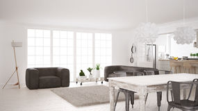 Minimalist white living and kitchen, scandinavian classic interi Stock Images