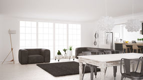 Minimalist white living and kitchen, scandinavian classic interi Royalty Free Stock Photography