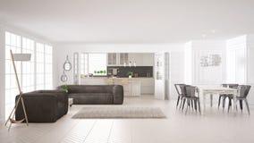 Minimalist white living and kitchen, scandinavian classic interi Stock Photography