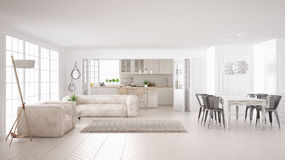 Minimalist white living and kitchen, scandinavian classic interior design royalty free illustration