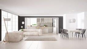 Minimalist white living and kitchen, scandinavian classic interi Stock Photos