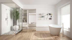 Minimalist white scandinavian bathroom with walk-in closet, clas Royalty Free Stock Photos