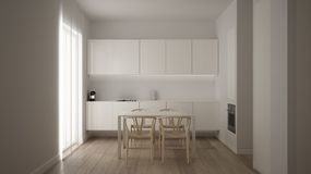 Minimalist white small kitchen design in one bedroom apartment with parquet floor and window with dining table, clean interior. Design, modern contemporary royalty free illustration