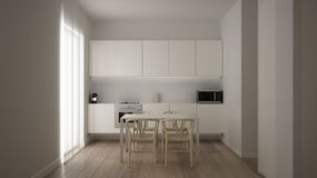 Minimalist white small kitchen design in one bedroom apartment with parquet floor and window with dining table, clean interior. Design, modern contemporary stock illustration