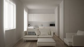 Minimalist white small kitchen design in one bedroom apartment with parquet floor and window with dining table and sofa, interior. Design, modern contemporary royalty free illustration