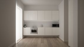 Minimalist white small kitchen design in one bedroom apartment with parquet floor and window with modern curtain, clean interior. Design, modern contemporary stock illustration