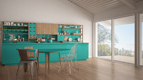 Minimalist white and turquoise wooden kitchen, big panoramic win Royalty Free Stock Photo