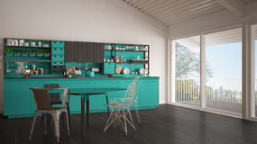 Minimalist white and turquoise wooden kitchen, big panoramic win Royalty Free Stock Photos