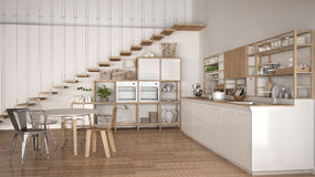 Minimalist white wooden kitchen, loft with stairs, classic scand Stock Images