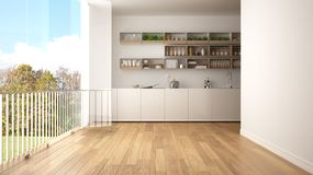 Minimalist white and wooden kitchen with parquet floor and big panoramic window. Meadow with green grass, trees and blue sky in th stock illustration