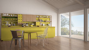 Minimalist white and yellow wooden kitchen, big panoramic window Royalty Free Stock Photography