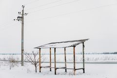 Minimalist winter in the Dnieper royalty free stock image