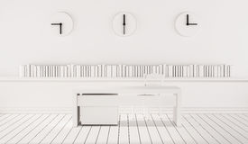 Minimalist working space with three different time zone clocks on wall, 3d rendered Stock Photography