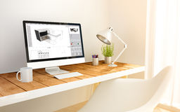 Minimalist workplace with 3d software computer Royalty Free Stock Image