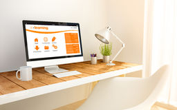 Minimalist workplace with e-learning computer Stock Photo