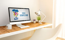 Minimalist workplace with free download computer Stock Photo