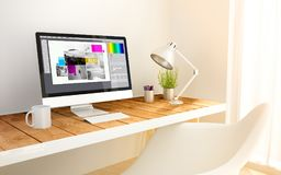 Minimalist workplace with graphic design computer. 3d generated minimalist workspace with graphic design screen computer and copyspace. 3d rendering. all screen Royalty Free Stock Images