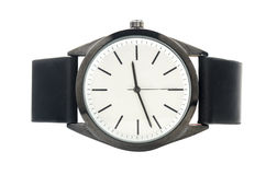 Minimalist wristwatch with a leather strap Stock Photo