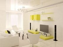 Minimalist yellow living room. Royalty Free Stock Photography