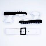 Minimalista in bianco e nero degli accessori affascinanti delle signore di modo Immagine Stock Libera da Diritti