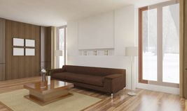 Minimalista i scandinavian Projektujemy z wygodnym żywym izbowym wnętrzem i 3d odpłacają się Obraz Stock