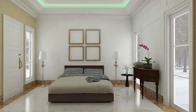 Minimalista i scandinavian Projektujemy z wygodnym sypialni wnętrzem i 3d odpłacają się Zdjęcia Royalty Free