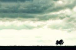 Minimalista pojedyncza drzewna sylwetka Pojęcie samotność, depresja, ucieczka, przyjaźń, poparcie, opieka, małżeństwo zdjęcie royalty free