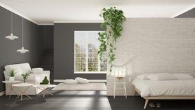 Minimaliste blanc et gris scandinave vivant avec la chambre à coucher, ouverte images libres de droits