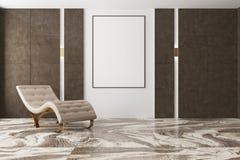 Minimalistic客厅,米黄扶手椅子,海报 免版税库存图片