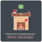 Minimalistic平的设计圣诞快乐e卡片 库存照片
