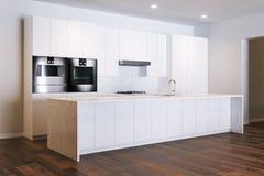 Minimalistic白色厨房在新的屋子里 库存例证