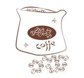 Дизайн Minimalistic кофейных зерен в сумке Простой рисуя коричневый план на  иллюстрация вектора