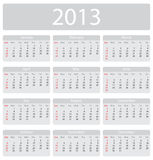Minimalistic 2013 calendar Royalty Free Stock Images