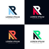 Minimalistic abstract R sign letter icon company vector logotype Stock Photos