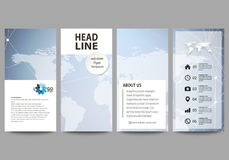 The minimalistic abstract vector illustration of editable layout of four modern vertical banners, flyers design business Royalty Free Stock Photography