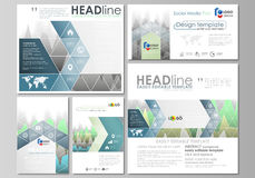 The minimalistic abstract vector illustration of the editable layout of modern social media post design templates in Royalty Free Stock Photo