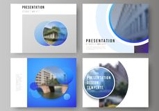 The minimalistic abstract vector illustration of the editable layout of the presentation slides design business. Templates. Creative modern blue background with vector illustration