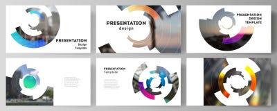 Minimalistic abstract vector illustration of editable layout of the presentation slides design business templates. Futuristic design circular pattern, circle vector illustration