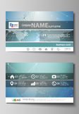 The minimalistic abstract vector illustration of the editable layout of two creative business cards design templates Stock Image