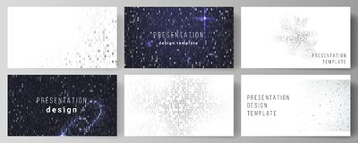 The minimalistic abstract vector layout of the presentation slides design business templates. Binary code background. AI. Big data, coding or hacker concept Royalty Free Stock Photography