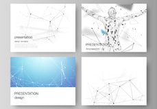 The minimalistic abstract vector layout of the presentation slides design business templates. Technology, science. Medical concept. Molecule structure Royalty Free Stock Photo